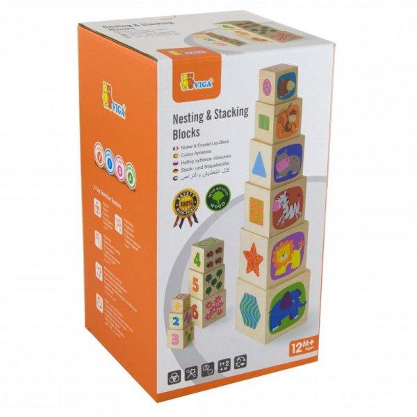 Viga Toys Drewniana Piramida Piramidka Układanka Edukacyjna