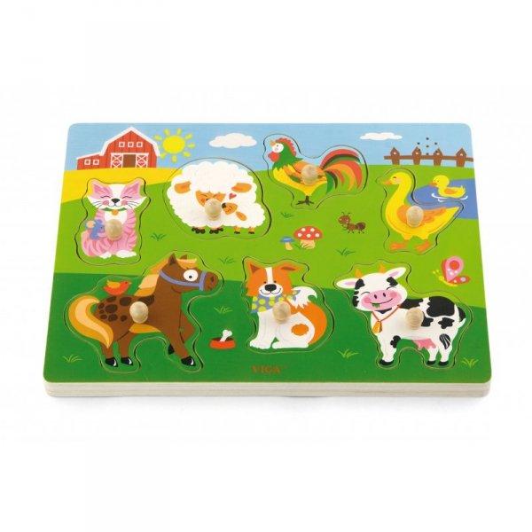 Drewniane Puzzle dźwiękowe Farma Viga Toys
