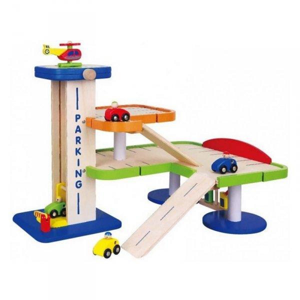 Duży Drewniany Dwupoziomowy garaż z akcesoriami Car Service Viga Toys