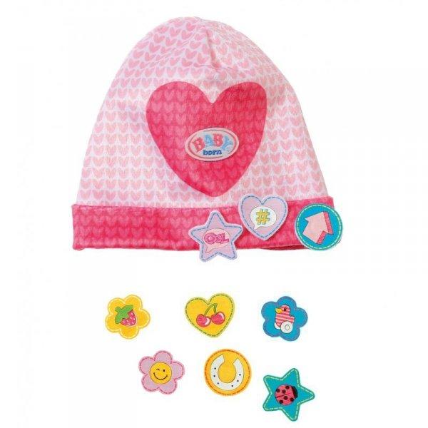 Czapeczka z przypinkami dla lalki Baby Born 43 w kolorze różowym