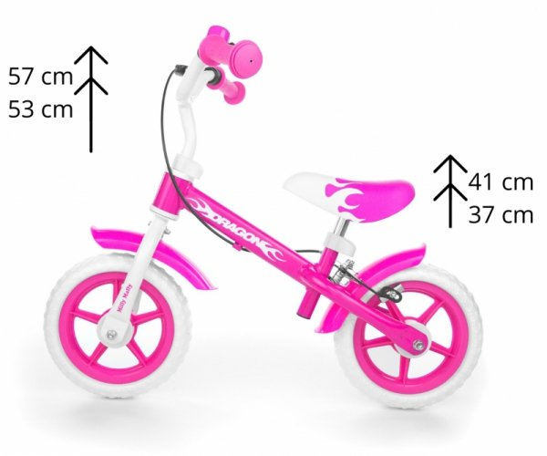 Rowerek biegowy Dragon z hamulcem pink