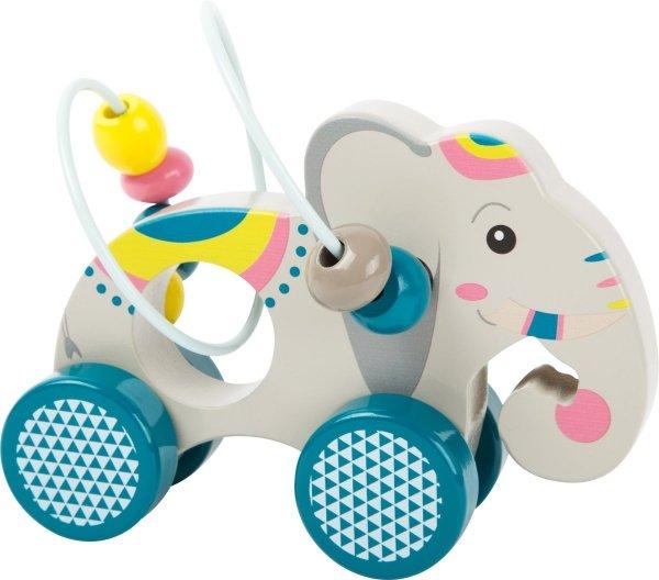 "SMALL FOOT Push-along Animal with Bead Rollercoaster ""Jungle"" - drewniany słonik z kółkami"