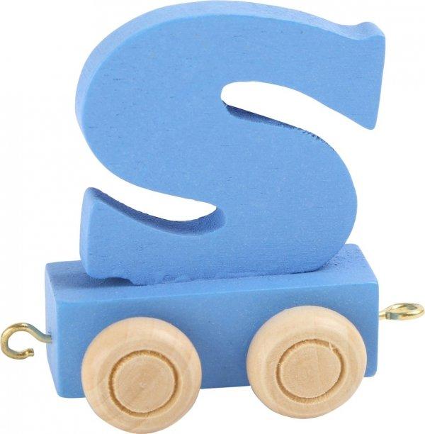 Dekoracja SMALL FOOT wagon do lokomotywy z literą S (kolor niebieski)