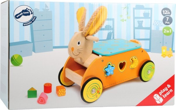 SMALL FOOT Rabbit Ride-on with Shape Sorter - jeździk z sorterem kształtów