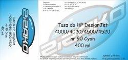 Tusz zamiennik Yvesso nr 90 do HP Designjet 4000/4020/4500/4520 (400 ml) Cyan C5061A