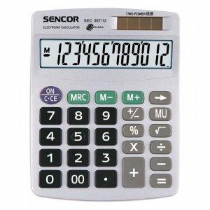Sencor Kalkulator biurkowy SEC 367/12,12 cyfrowy wyświetlacz, podwójne zasilanie