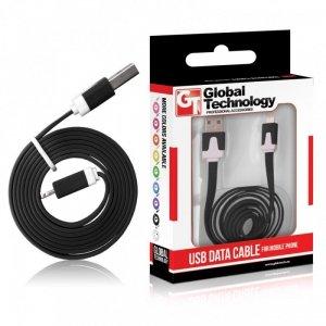 Global Technology KABEL USB IPHONE 5 8PIN iOS7+ PŁASKI CZARNY