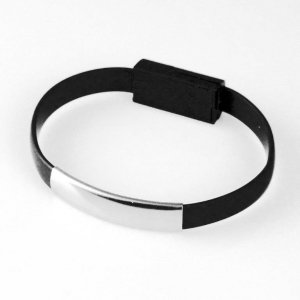 Global Technology KABLEL USB iPhone 6/6s/5/5s BRANSOLETKA czarna