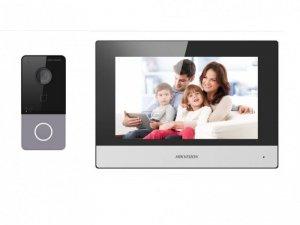 Hikvision Zestaw wideo domofonu DS-KIS603-P(B) IP dla willi lub domu, Stacja bramowa: DS-KV6113-WPE1 x1, Monitor: DS-KH6320-WTE1