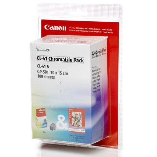 Tusz Canon kolorowy CL-41 + Papier Photo Glossy GP501, 100 str.