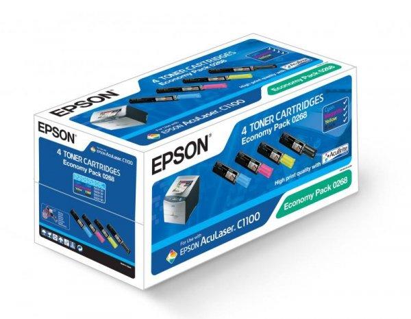 Zestaw tonerów CMYK do Epson AcuLaser C1100/CX11 wyd. czarny 4000 stron, klory 1500 stron A4 przy 5% pokryciu