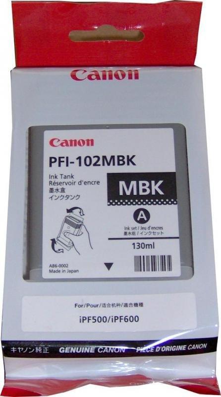 Tusz CANON PFI-102MBK 130 ml mattblack do IPF500/510/600/605/610/650/655/710/720/750/755/760/765 LP17/24