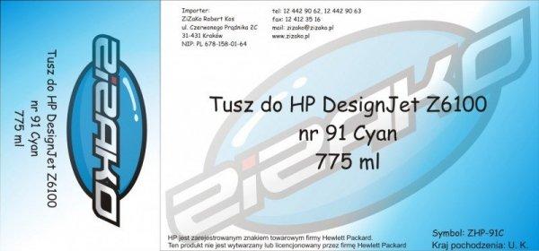 Tusz zamiennik Yvesso nr 91 do HP Designjet Z6100 775 ml Cyan C9467A