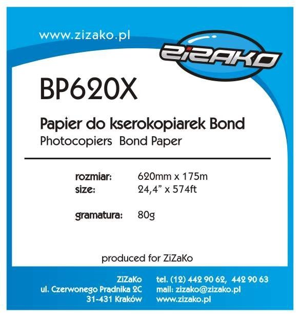Papier w roli do ksero Yvesso Bond 620x175m 80g BP620X