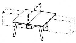 Biurko Simplic podwójne - szkic