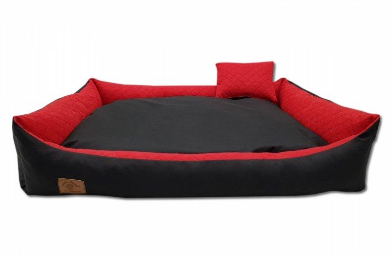 Legowisko dla psa 120 X 80 cm - Czarno - czerwone pikowany