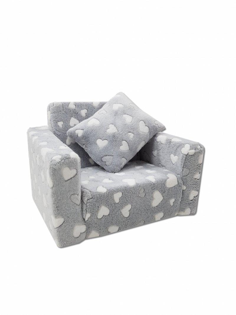 Fotel rozkładany dla dzieci- SZARY BIAŁE SERDUSZKA