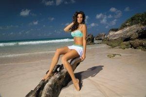 Spódniczka Meg Bianco-Maldive M-266 Biało-zielony (307)