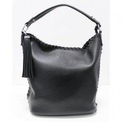 Duża czarna torba z ozdobnym frędzlem