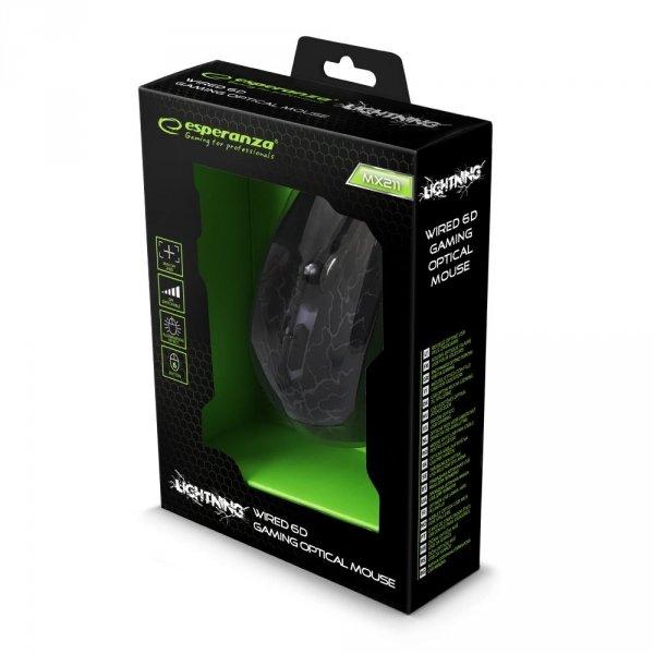 MYSZ PRZEWOD. DLA GRACZY 6D OPT. USB MX211 LIGHTNING