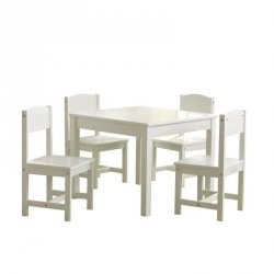 Drewniany Zestaw Stolik i 4 Krzesełka Białe KidKraft Farmhouse