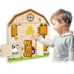 Viga Drewniana Tablica Manipulacyjna Edukacyjna Sensoryczna Farma