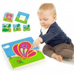 Puzzle drewniane Układanka Viga Toys Jak rośnie motylek 4 obrazki 21 Elementów