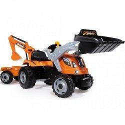 Smoby Traktor Max na pedły dla dzieci z przyczepą i koparką