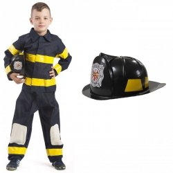Strój Strażak Kostium Strażaka Mundur Kask Straż Pożarna dloa dziecka 134-140cm