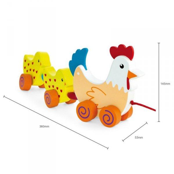 VIGA Zestaw do ciągnięcia Kurka z kurczakami 36 cm
