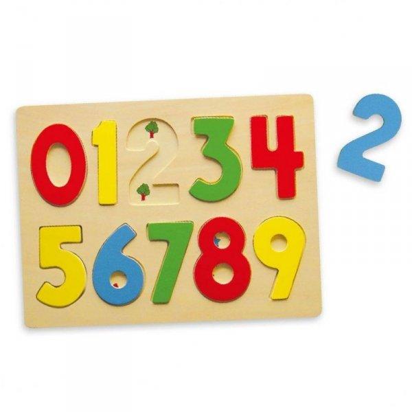 Puzzle Do Nauki Liczenia Drewniana Układanka Edukacyjna Cyferki 123 Viga Toys