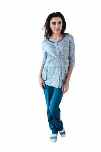 Piżama ciążowa i do karmienia kratka 4188