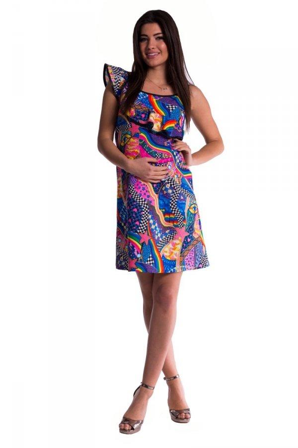 Kolorowa sukienka ciążowa 3518