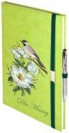 Notes A5 z długopisem zamykany na gumkę z blaszką - papier biały w kratkę ***** oprawa Vivella seledynowa (gumka zielona) - Z NADRUKIEM NA DZIEŃ MATKI