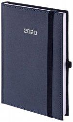 Kalendarz książkowy 2020 B5 dzienny papier biały perforacja oprawa ROSSA zamykana na gumkę granatowa