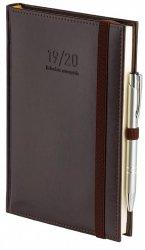 Kalendarz nauczyciela 2019/2020 format B6 układ dzienny oprawa skóropodobna NEBRASKA BRĄZOWA z obszyciem zamykana na gumkę + mocowanie na długopis