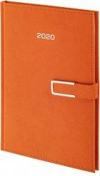Kalendarz książkowy 2020 A4 dzienny papier chamois wycinane registry oprawa ROSSA CHROMO pomarańczowa - oprawa zamykana na magnes