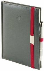 Notes A4 z długopisem zamykany na gumkę z blaszką - papier biały w kratkę - oprawa Nebraska szara (gumka czerwona)