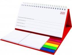 Kalendarz biurkowy z notesami i znacznikami MIDI TYGODNIOWY 2020 czerwony