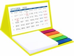 Kalendarz biurkowy z notesem i znacznikami MINI 2020 żółty