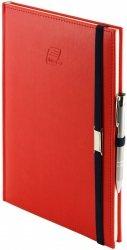 Notes A4 z długopisem zamykany na gumkę z blaszką - papier biały w kratkę - oprawa Vivella czerwona (gumka granatowa)