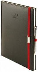 Notes A5 z długopisem zamykany na gumkę z blaszką - papier biały w kratkę - oprawa Vivella czarna (gumka czerwona)