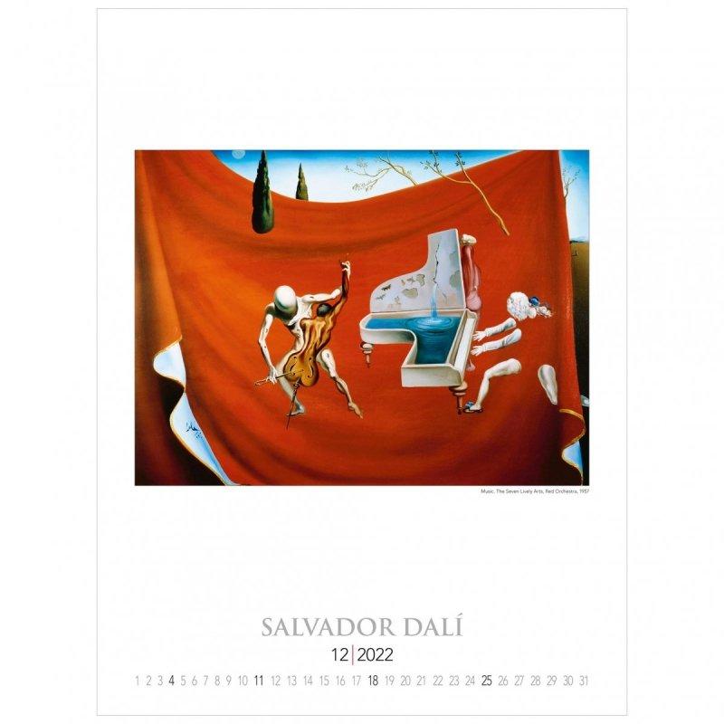 Kalendarza ścienny wieloplanszowy z reprodukcjami obrazów Salvadora Dali - grudzień 2022
