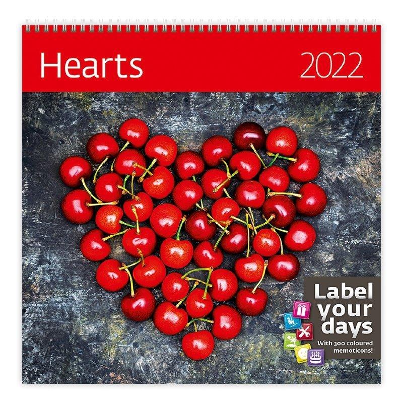 Kalendarz ścienny wieloplanszowy Hearts 2022 z naklejkami - okładka