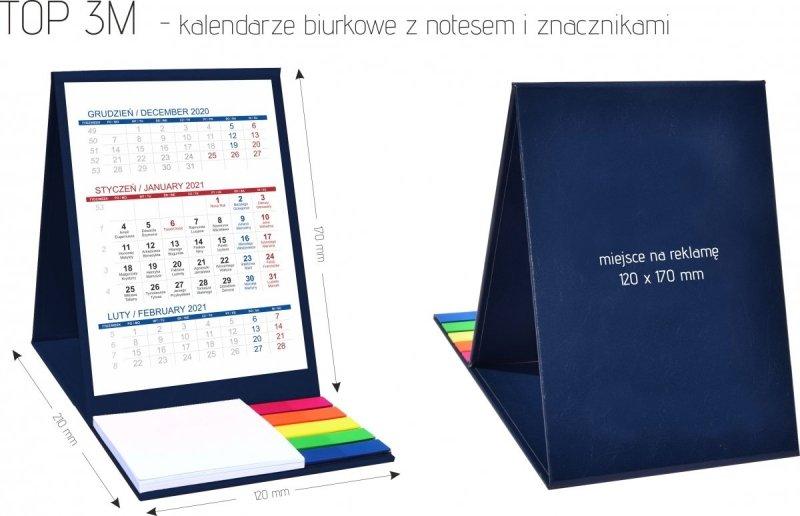 Wymiary kalendarza biurkowego z notesem i znacznikami TOP 3-miesięczny 2021 brązowy