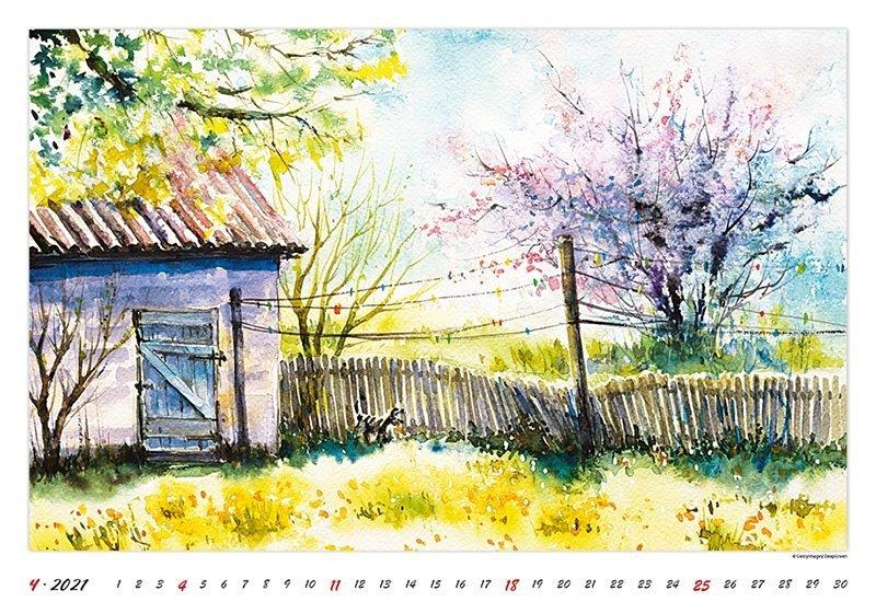 Kalendarz ścienny wieloplanszowy Watercolour Scenery 2021 - kwiecień 2021