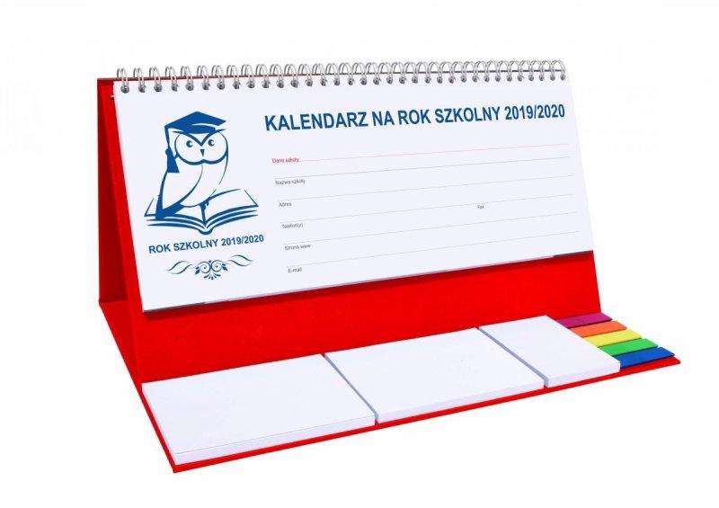 Kalendarz biurkowy EXCLUSIVE PLUS na rok szkolny 2019/2020 - czerwony