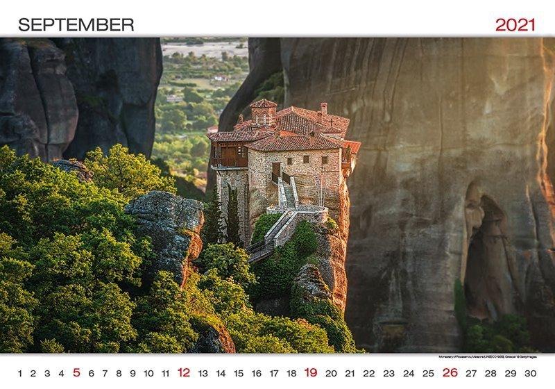 Kalendarz ścienny wieloplanszowy World Wonders 2021 - wrzesień 2021