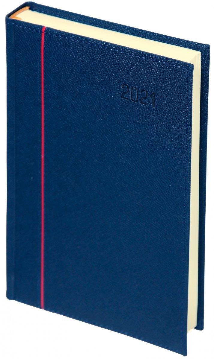 Kalendarz książkowy 2021 A4 dzienny oprawa HAGA - oprawa przeszywana - kolor granatowy