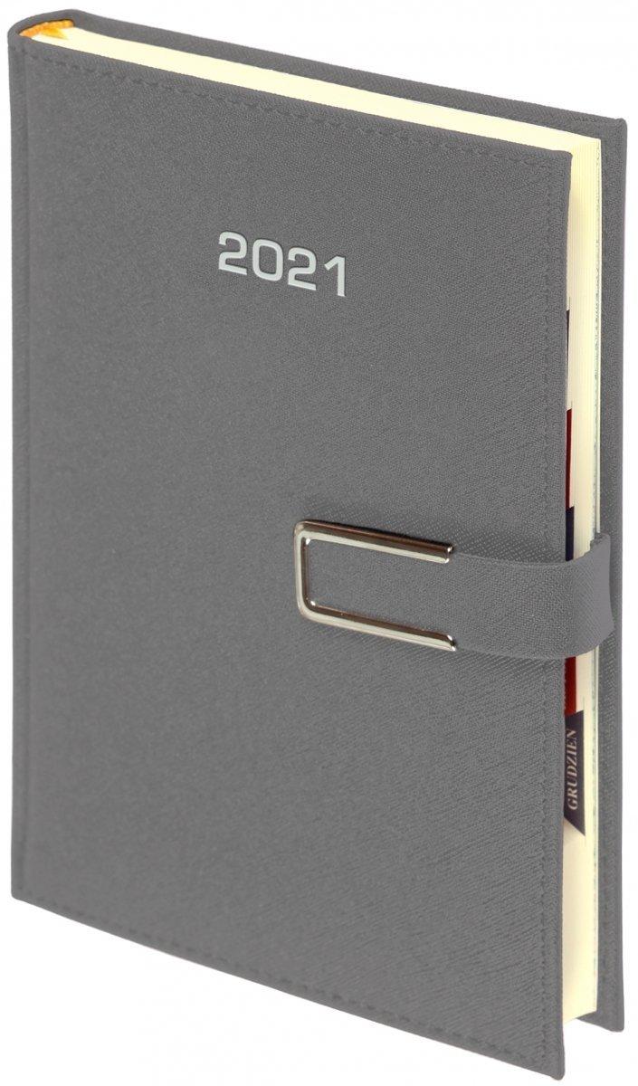 Kalendarz książkowy 2021 B5 tygodniowy oprawa ROSSA CHROMO srebrna - oprawa zamykana na magnes
